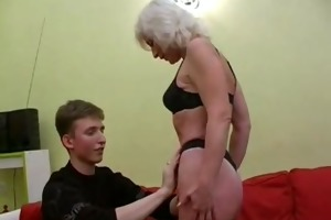 silver haired milf in nylons fucks