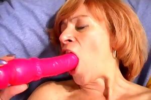 no jock - hawt aged use a pink fake penis to big o