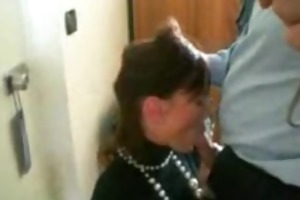 beautiful brunette hair wife gives fantastic