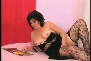 stocking older sweetheart masturbates in daybed