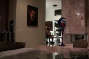 blond wife caught cheating in livingroom on