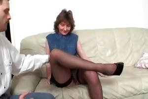 lewd older dark brown acquires bushy vagina part3