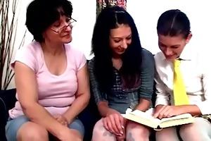 nasty lesbo teacher watches teen students teasing
