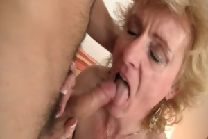 blond granny jumps on his juvenile dick