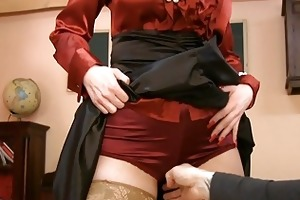 mother i in glasses and satin stockings gets