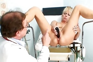 sexy older blond lady receives her slit examined
