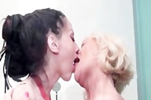 sexually excited older blond lesbo hugging