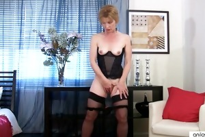 older housewife home alone copulates sex-toy