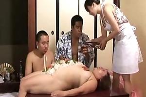 aged obese oriental in kimono