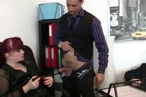two fortunate studs team fuck business woman