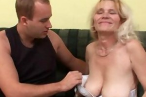 aged mom with large mounds and bushy twat