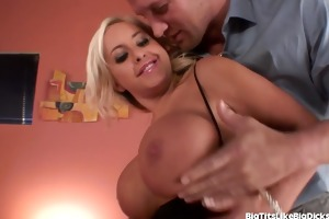 breasty secretary copulates a co-worker