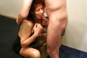 older redhead dilettante wife sucks and bonks