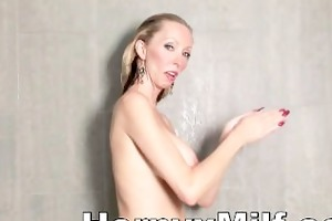 dick hungry milf masturbating on shower