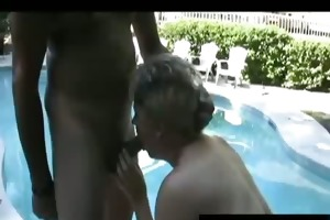 mamma tracey with cum scoops by swimming pool