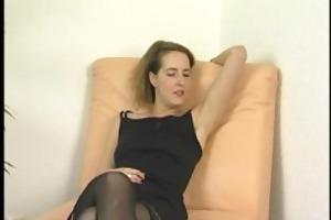 aged dark brown in underware undresses and