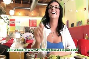 mandee hawt brunette hair woman public flashing