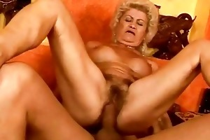 nasty breasty granny acquires her bawdy cleft