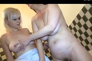 granny having lascivious sex in the kitchen