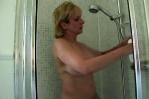 older woman taking shower