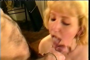 french aged takes 2 cumshots and facial in her