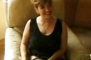 aged woman in darksome nylons