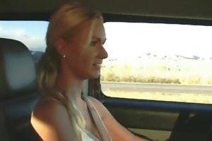 masturbating on the highway – real public wife