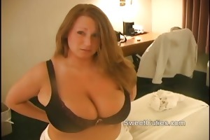chubby breasty college cutie teasing with her big