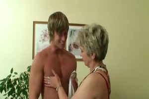 sexy lad bangs lonely granny