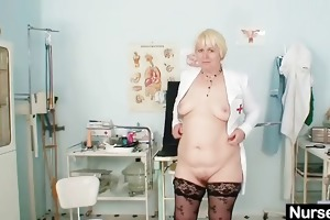 large breasts old lady in uniform fingers bushy