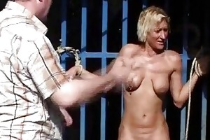 outdoor whipping of blond wife in hardcore public