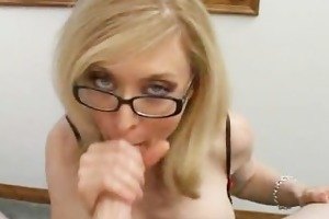 golden-haired mamma in glasses licking rigid part1