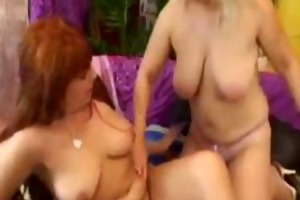 lustful busty grannies fuck every other