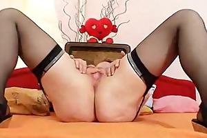 perverted old grannie puss widening and
