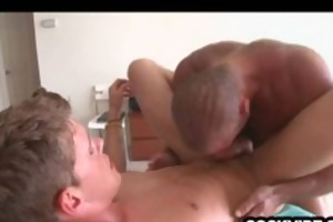 aged guy slamming a taut twink butthole