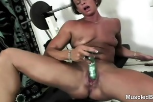 sports milf vibrator bonks massive clit cum-hole