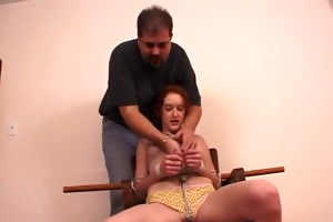 redhead mother i fastened with rope and her
