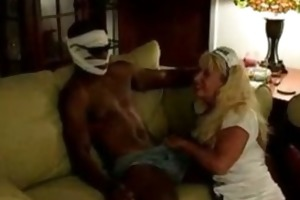 blond milf tastes threesome afro thunder